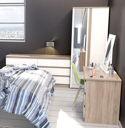 Avenue Truffle Oak And White Gloss Bedroom Furniture.