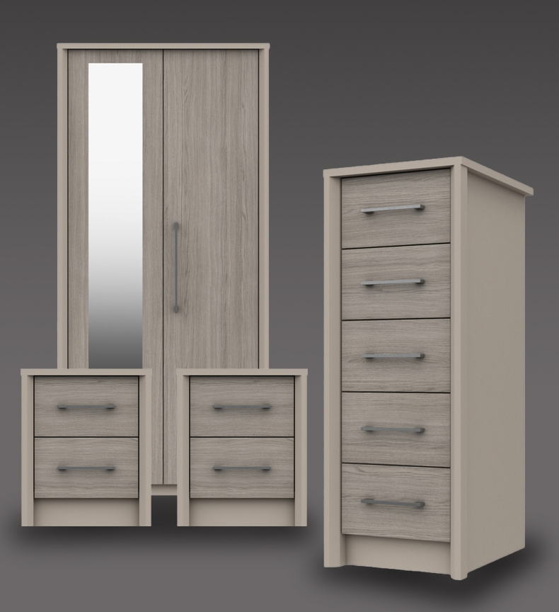 Burton Clay And Grey Oak Bedroom Furniture. From £119.