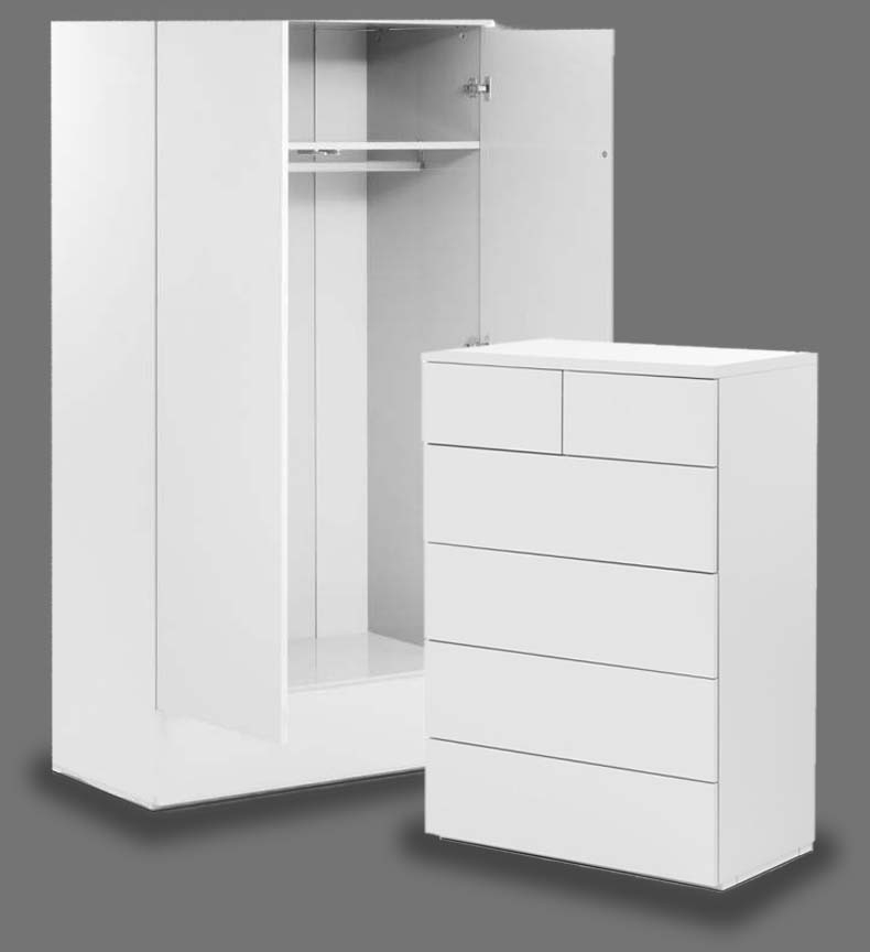 Montage White High Gloss Bedroom Furniture. From £99.