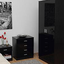 Otto Black High Gloss Bedroom Furniture