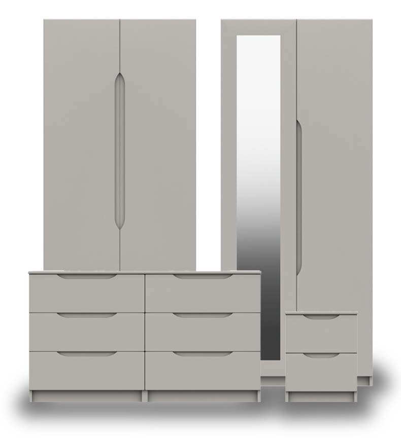 Sutton Cashmere Grey High Gloss Bedroom Furniture.
