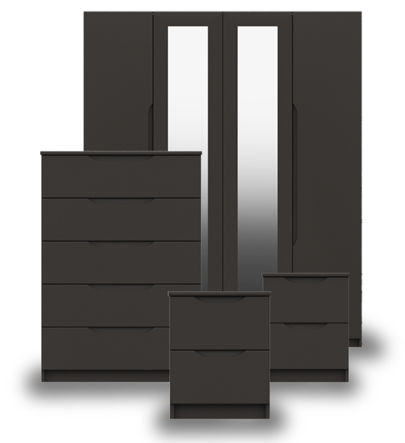 Sutton Graphite Grey High Gloss Bedroom Furniture