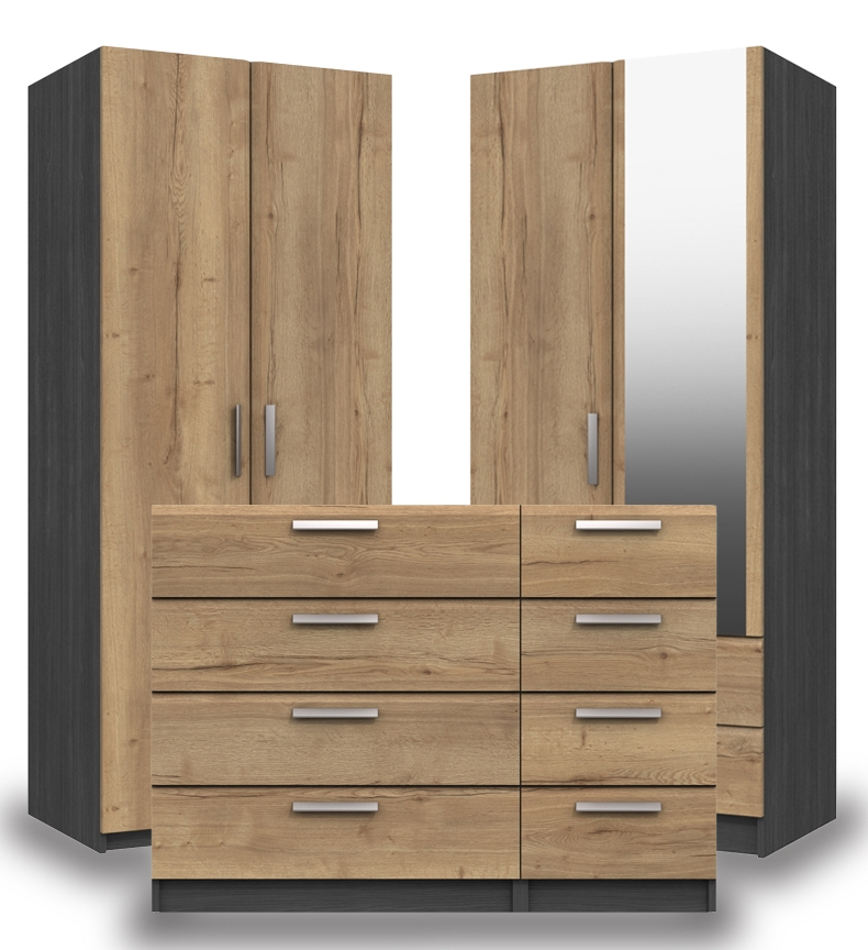 Waterford Graphite And Oak Bedroom Furniture.