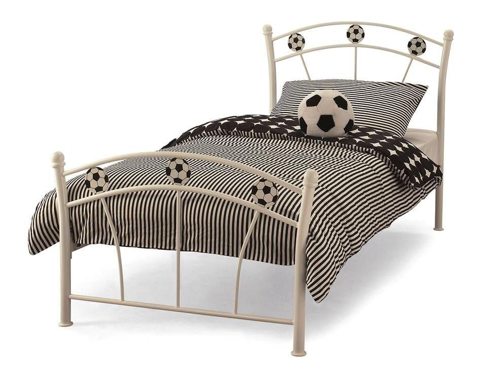 Soccer White Single Bed Frame