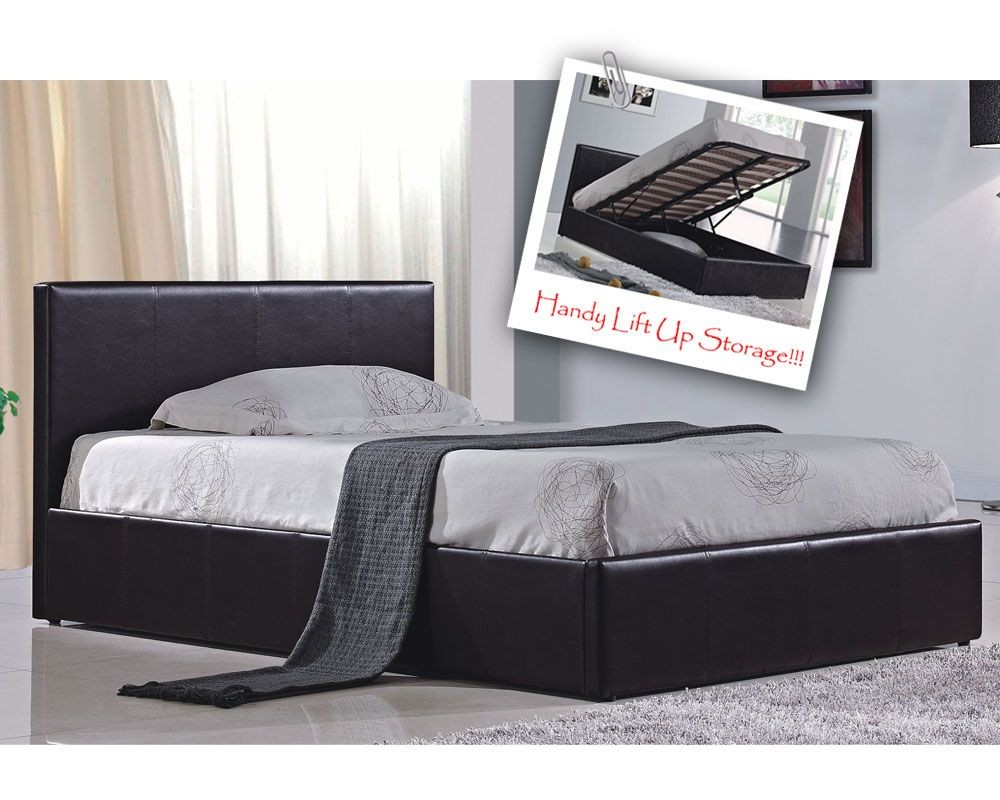 Berlin Parade Brown Double Ottoman Storage Bed Frame