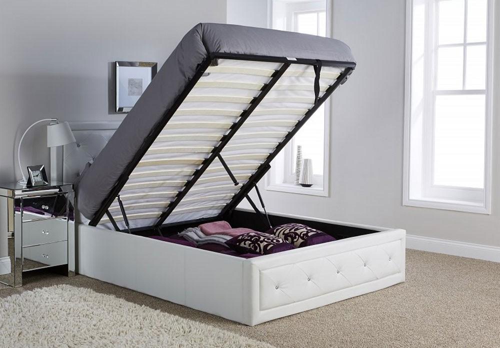 Holly White Ottoman Storage Bed Frame