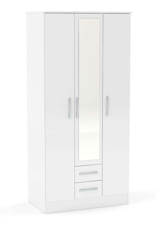 Links High Gloss White 3 Door 2 Drawer Wardrobe