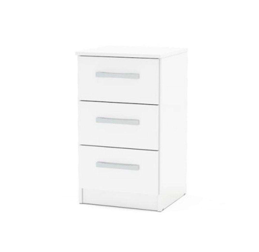 Links High Gloss White 3 Drawer Bedside