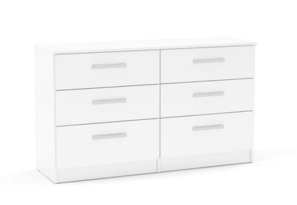 Links High Gloss White 6 Drawer Chest