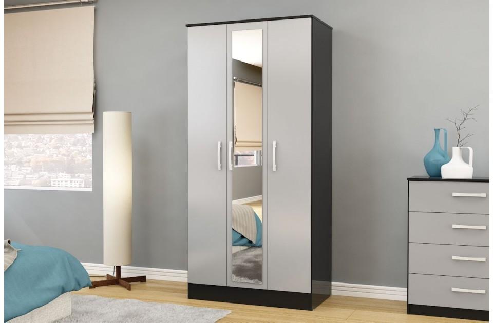Links Black/ High Gloss Grey 3 Door Mirror Wardrobe