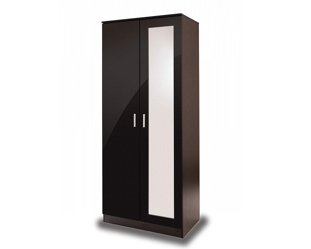 Otto Black High Gloss 2 Door Mirror Robe