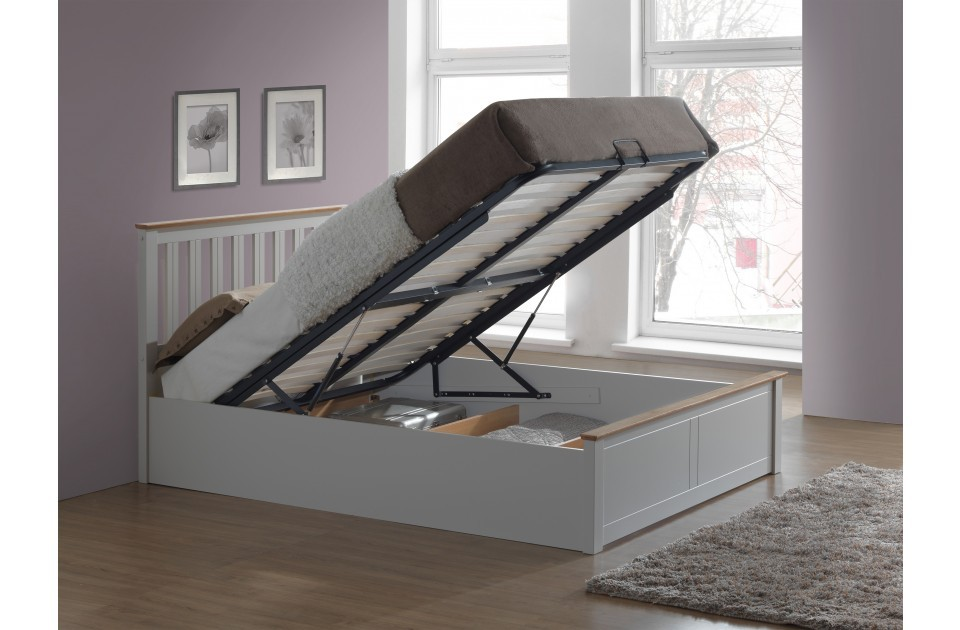 Flame Pearl Grey Ottoman Storage Bed Frame