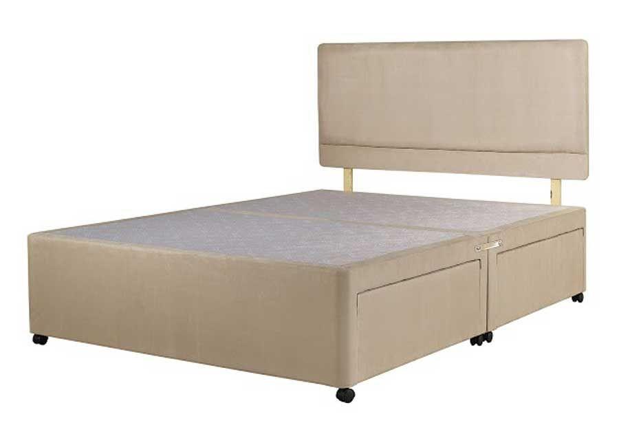 Superior Three Quarter Divan Bed Base Stone Fabric