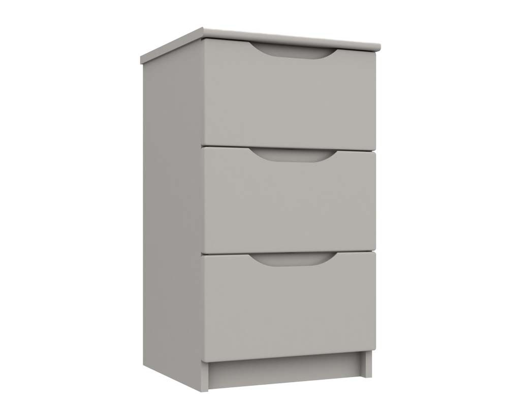 Cashmere Grey High Gloss 3 Drawer Bedside