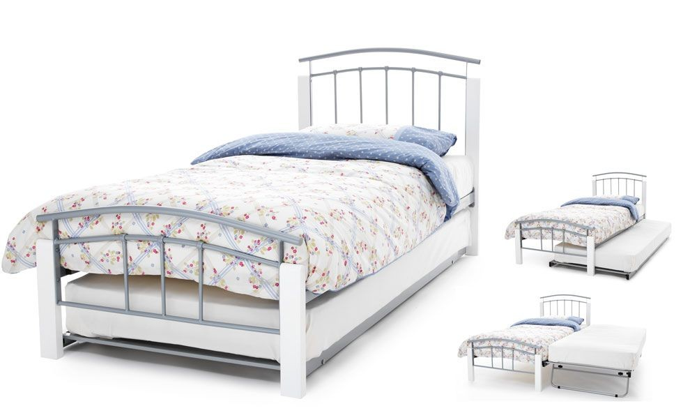 Tetras Silver & White Guest Bed Frame