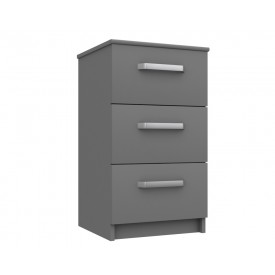 Arden Dust Grey High Gloss 3 Drawer Bedside