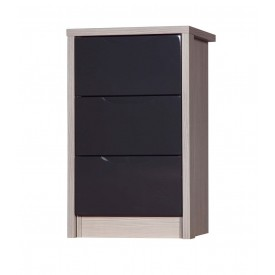 Avola Champagne With Grey Gloss 3 Drawer Bedside