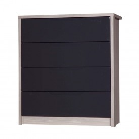 Avola Champagne With Grey Gloss 4 Drawer Wide Chest