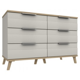 Derby 3 Drawer Double Chest Grey White Natural Oak