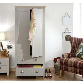 Lancashire Grey 2 Drawer 2 Door Wardrobe