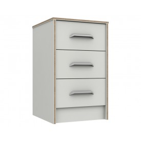 Marston White 3 Drawer Bedside