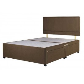 Superior Double Divan Bed Base Chocolate Fabric