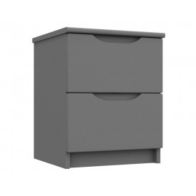 Dust Grey High Gloss 2 Drawer Bedside Chest