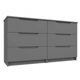 Dust Grey High Gloss 3 Drawer Double Chest