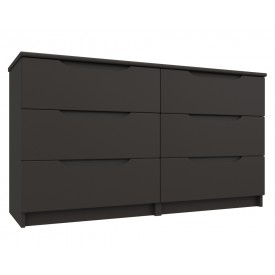 Graphite Grey High Gloss 3 Drawer Double Chest