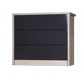 Avola Champagne With Grey Gloss 3 Drawer Wide Chest