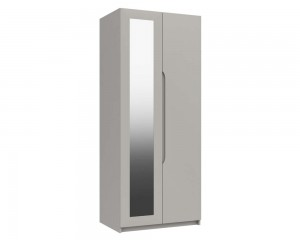 Cashmere Grey High Gloss 2 Door Mirror Wardrobe