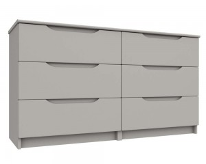 Cashmere Grey High Gloss 3 Drawer Double Chest