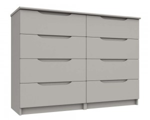 Cashmere Grey High Gloss 4 Drawer Double Chest